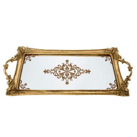 Gold Dekoratif Cam Tepsi