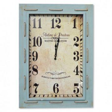 Wooden Turquoise Clock 55cm