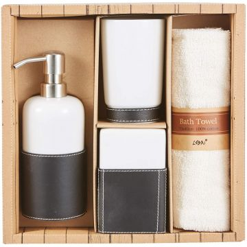 Leather Covered Bathroom Set