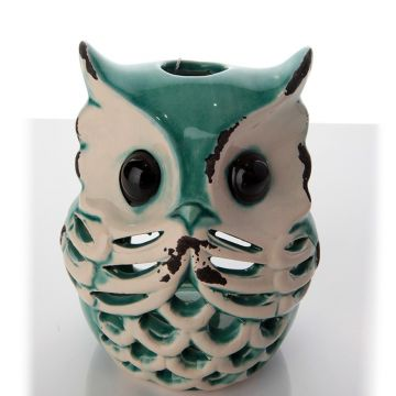 Turquoise Owl Candlestick