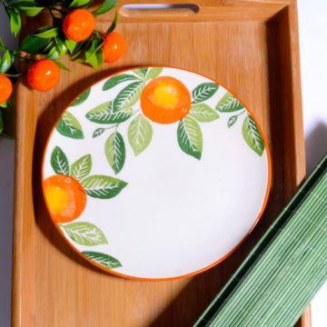 Orange Pattern Cake Plate