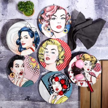 Women Pattern Cake Plate